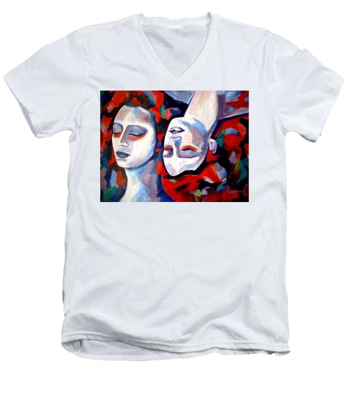 Men's V-Neck T-Shirt featuring the painting Time Goes By by Helena Wierzbicki