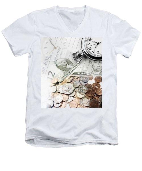 Time Is Money Concept Men's V-Neck T-Shirt