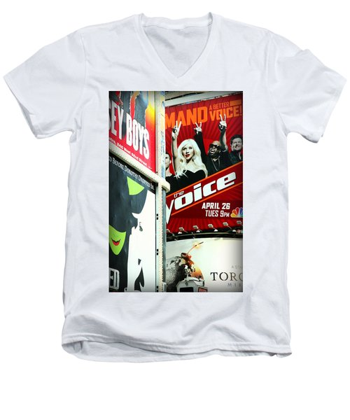 Times Square Billboards Men's V-Neck T-Shirt