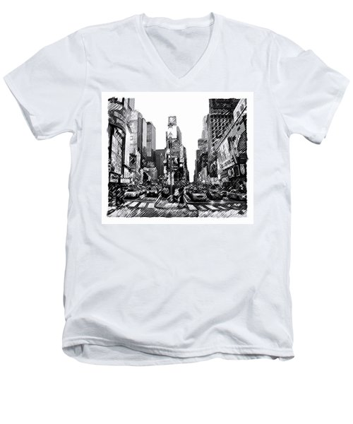 Times Square   New York City Men's V-Neck T-Shirt by Iconic Images Art Gallery David Pucciarelli