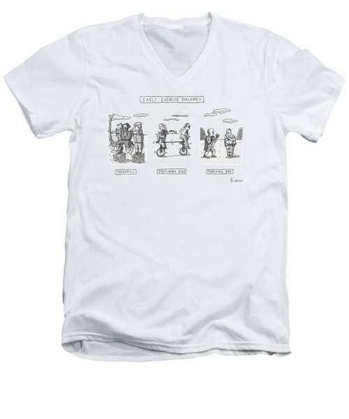 Title: Early Exercise Machines. Three Early Men's V-Neck T-Shirt