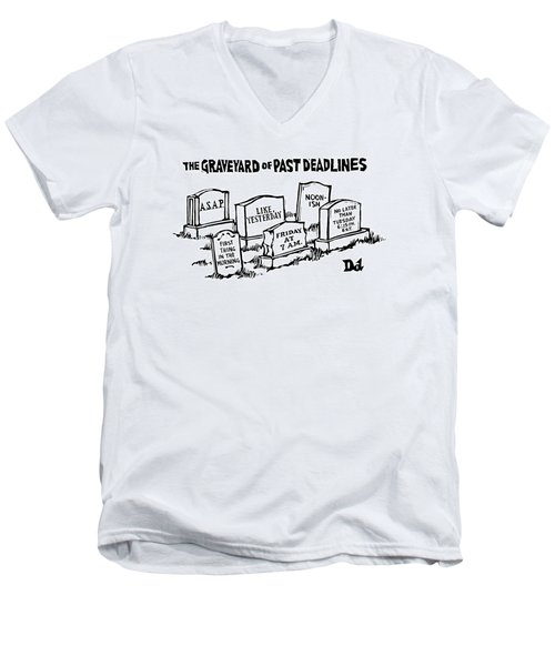 Title: Graveyard Of Past Deadlines.  A Graveyard Men's V-Neck T-Shirt