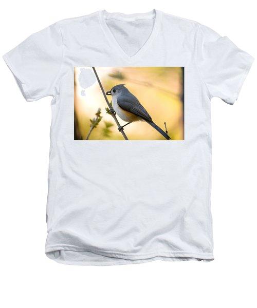 Titmouse In Gold Men's V-Neck T-Shirt