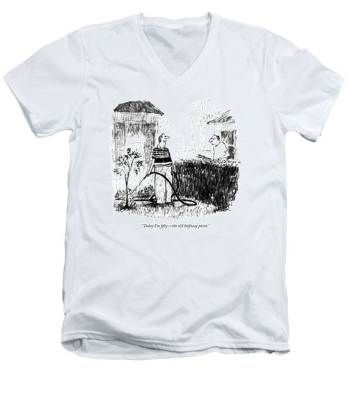 Today I'm Fifty - The Old Halfway Point Men's V-Neck T-Shirt