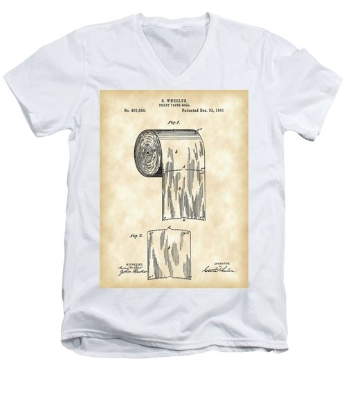 Toilet Paper Roll Patent 1891 - Vintage Men's V-Neck T-Shirt