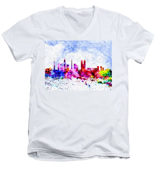 Tokyo Watercolor Men's V-Neck T-Shirt by Daniel Janda