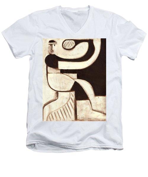 Tommervik Art Deco Tennis Player Art Print Men's V-Neck T-Shirt