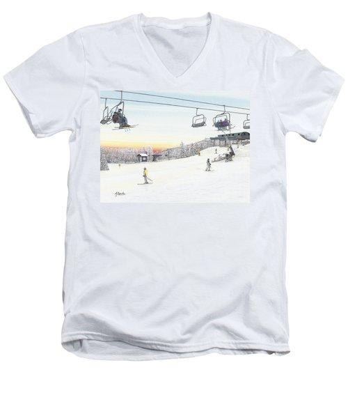 Top Of The Mountain At Seven Springs Men's V-Neck T-Shirt by Albert Puskaric
