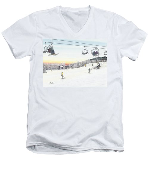 Top Of The Mountain At Seven Springs Men's V-Neck T-Shirt