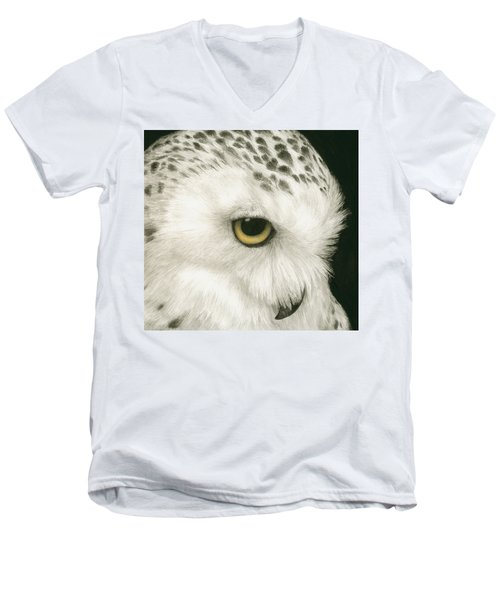 Men's V-Neck T-Shirt featuring the painting Topaz In The Snow by Pat Erickson