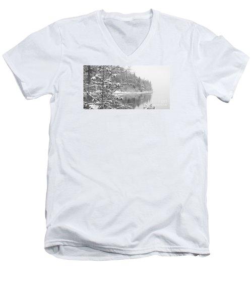 Touch Of Winter Men's V-Neck T-Shirt by Diane Bohna