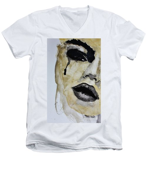 Men's V-Neck T-Shirt featuring the painting Tougher Than You Think 3 by Michael Cross