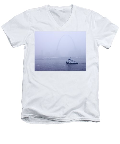 Towboat Working In The Snow St Louis Men's V-Neck T-Shirt
