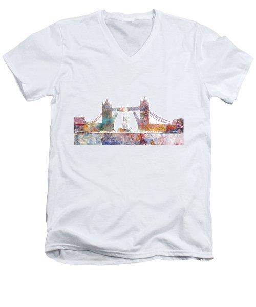 Tower Bridge Colorsplash Men's V-Neck T-Shirt by Aimee Stewart