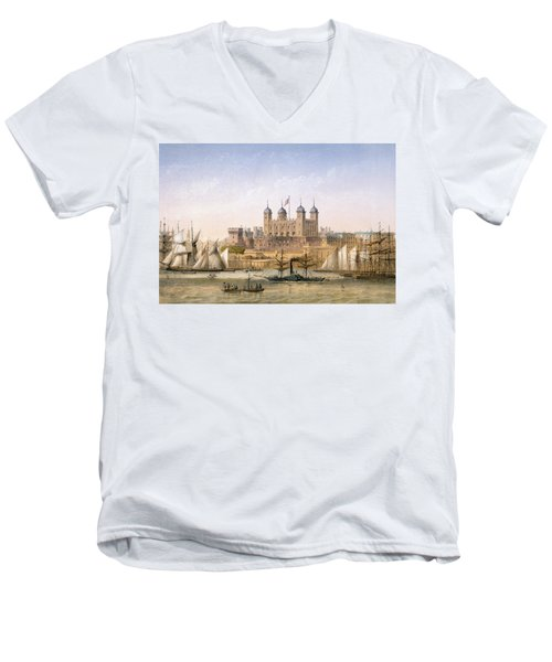 Tower Of London, 1862 Men's V-Neck T-Shirt by Achille-Louis Martinet