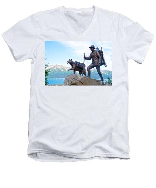 Trail Blazers Sculpture For 2012 Iditarod Beginning At Mile 0 In Seward-ak Men's V-Neck T-Shirt