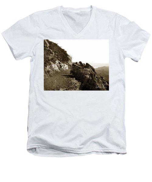 Men's V-Neck T-Shirt featuring the photograph Trail On Mt. Tamalpais Marin Co California Circa 1902  by California Views Mr Pat Hathaway Archives