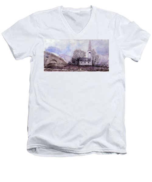 Men's V-Neck T-Shirt featuring the painting Tranquility by Jasna Dragun
