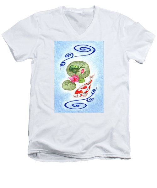 Men's V-Neck T-Shirt featuring the drawing Tranquility by Keiko Katsuta