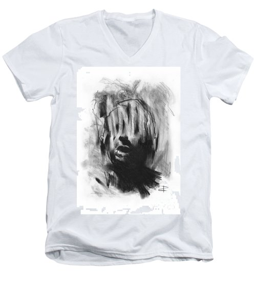 Men's V-Neck T-Shirt featuring the drawing Gaza Trauma by Paul Davenport