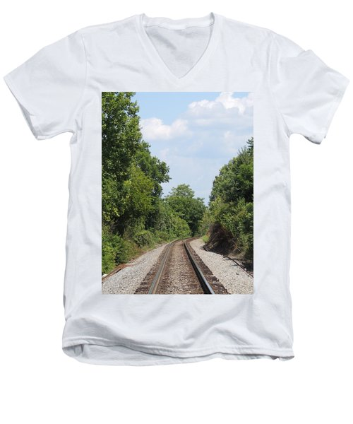 Men's V-Neck T-Shirt featuring the photograph Traxs To Anywhere by Aaron Martens