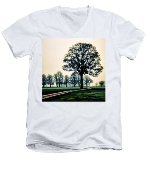 Tree At Dawn On Golf Course Men's V-Neck T-Shirt