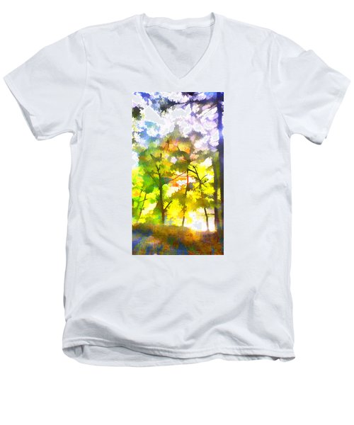 Men's V-Neck T-Shirt featuring the digital art Tree Leaves by Frank Bright