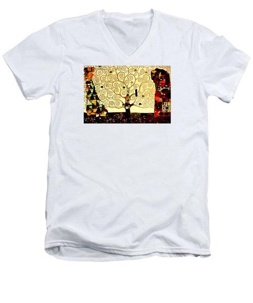 Tree Of Life Men's V-Neck T-Shirt by Henryk Gorecki