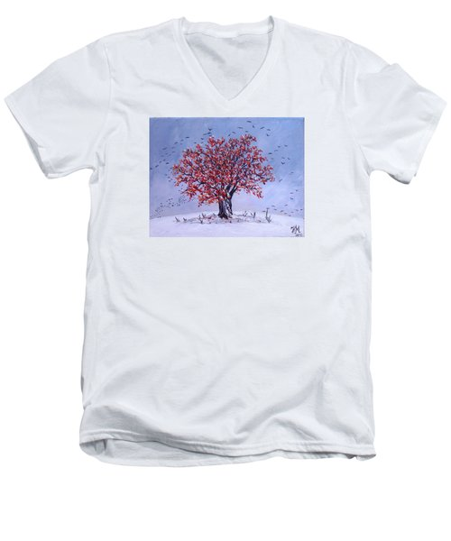 Men's V-Neck T-Shirt featuring the painting Tree Of Life by Nina Mitkova