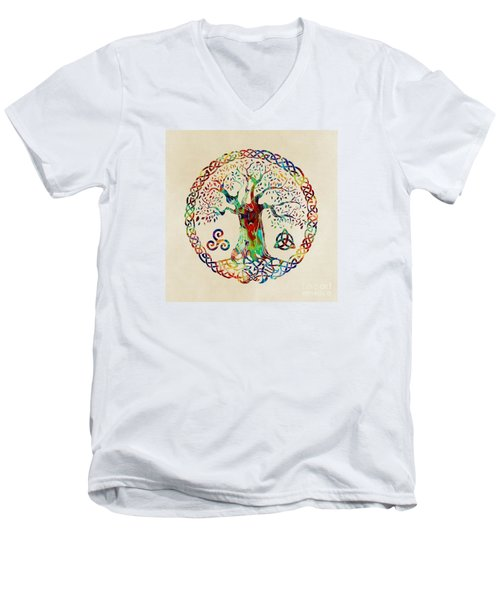Tree Of Life Men's V-Neck T-Shirt by Olga Hamilton