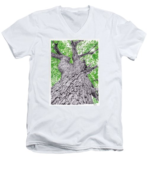Tree Pen Drawing 4 Men's V-Neck T-Shirt