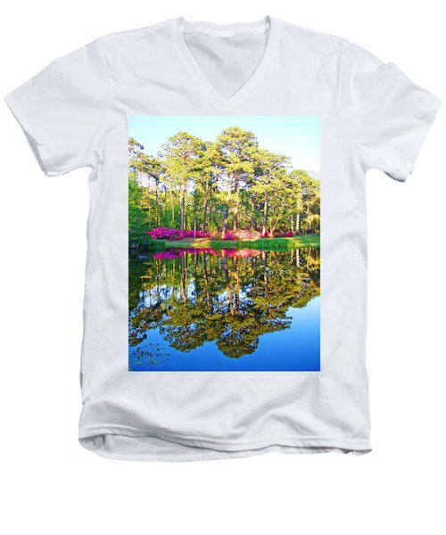 Tree Reflections And Pink Flowers By The Blue Water By Jan Marvin Studios Men's V-Neck T-Shirt