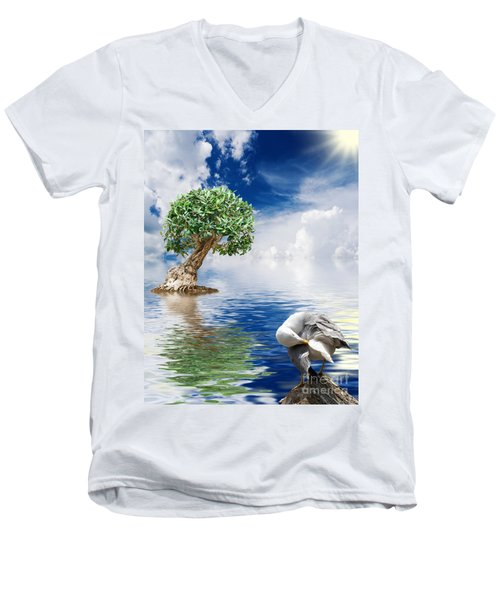 Tree Seagull And Sea Men's V-Neck T-Shirt