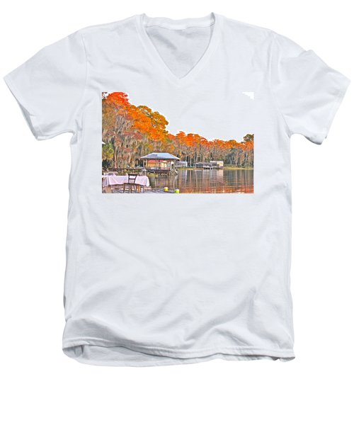 Men's V-Neck T-Shirt featuring the photograph Trees By The Lake by Lorna Maza