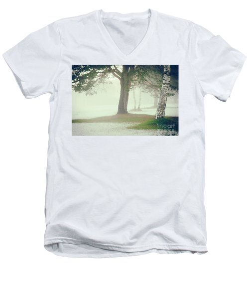 Men's V-Neck T-Shirt featuring the photograph Trees In Fog by Silvia Ganora