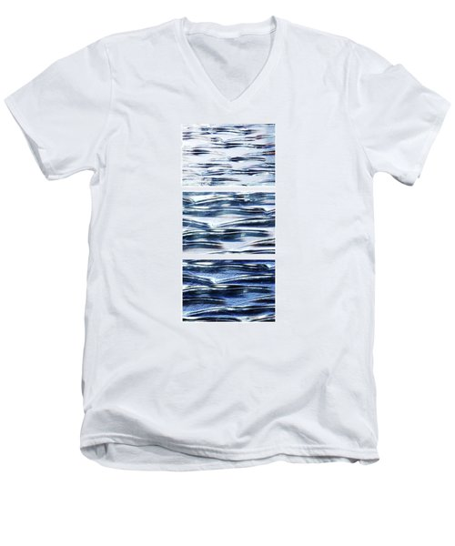 Men's V-Neck T-Shirt featuring the photograph Trio In Blue by Wendy Wilton