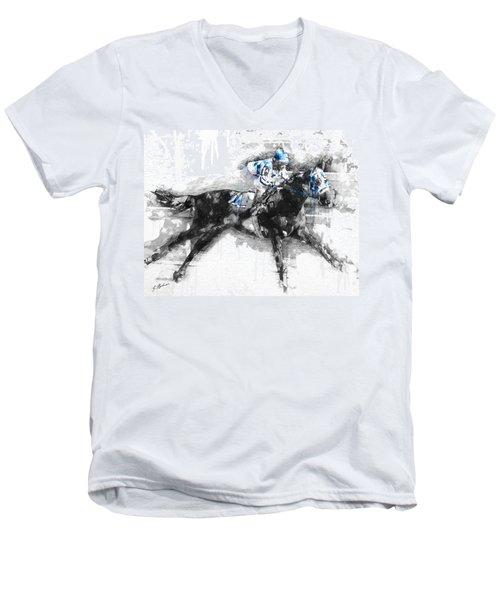 Secretariat Triple Crown 73 Men's V-Neck T-Shirt by Gary Bodnar