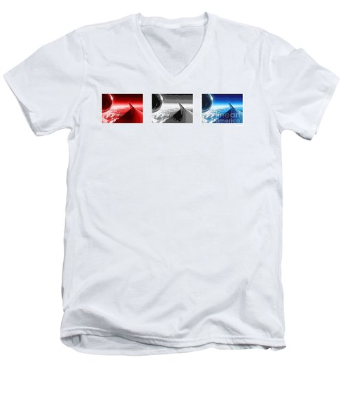 Men's V-Neck T-Shirt featuring the photograph Red White Black An White Blue An White Jet Pop Art Planes. by R Muirhead Art