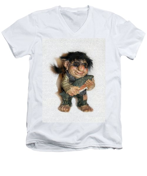Men's V-Neck T-Shirt featuring the sculpture Troll Fisherman by Sergey Lukashin