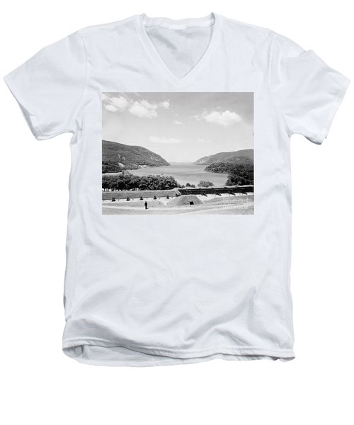 Trophy Point North Fro West Point In Black And White Men's V-Neck T-Shirt