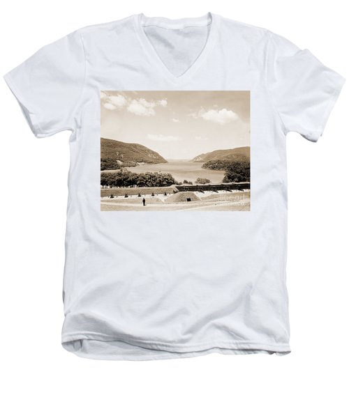 Trophy Point North Fro West Point In Sepia Tone Men's V-Neck T-Shirt