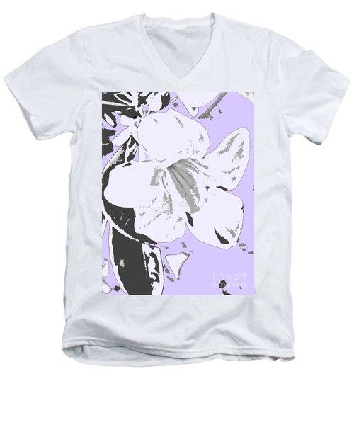 Tropical Floral Violet Black Men's V-Neck T-Shirt