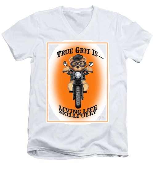 True Grit Men's V-Neck T-Shirt by Jerry Ruffin