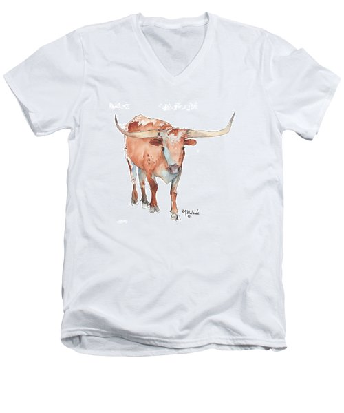 Square Walking Tall Texas Longhorn Watercolor Painting By Kmcelwaine Men's V-Neck T-Shirt by Kathleen McElwaine