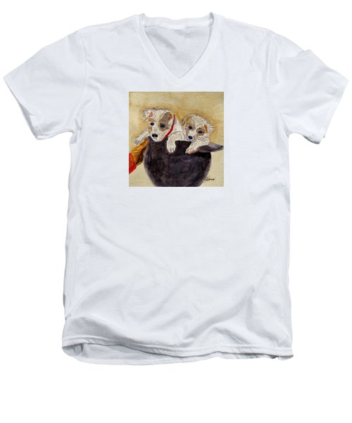 Men's V-Neck T-Shirt featuring the painting Trump And Tillie by Angela Davies