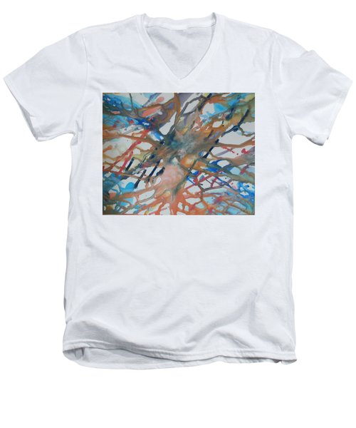 Men's V-Neck T-Shirt featuring the painting Tube by Thomasina Durkay