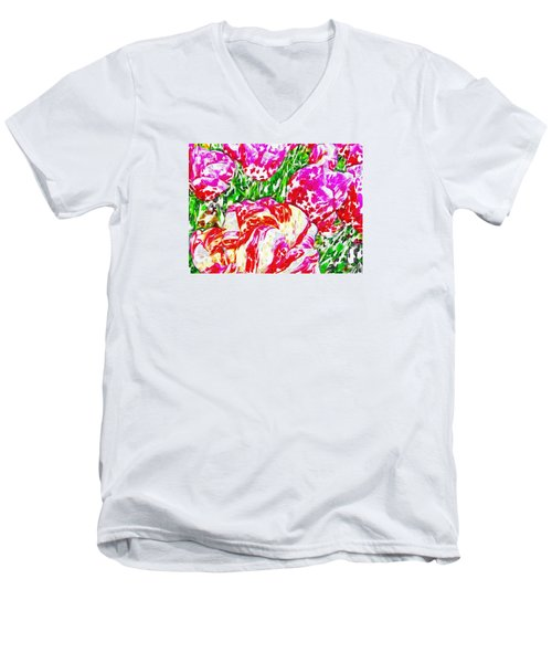 Men's V-Neck T-Shirt featuring the photograph Tulip Infusion by Zafer Gurel