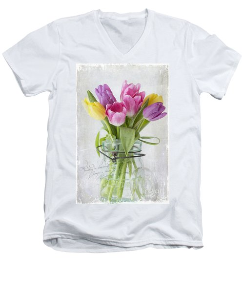 Tulips In A Jar Men's V-Neck T-Shirt