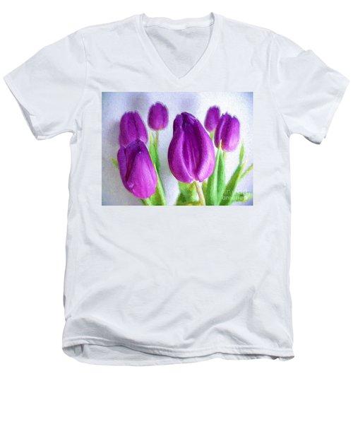 Tulips In Digital Oil Impasto Men's V-Neck T-Shirt