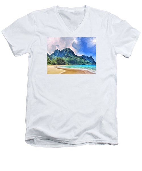 Tunnels Beach Kauai Men's V-Neck T-Shirt by Dominic Piperata